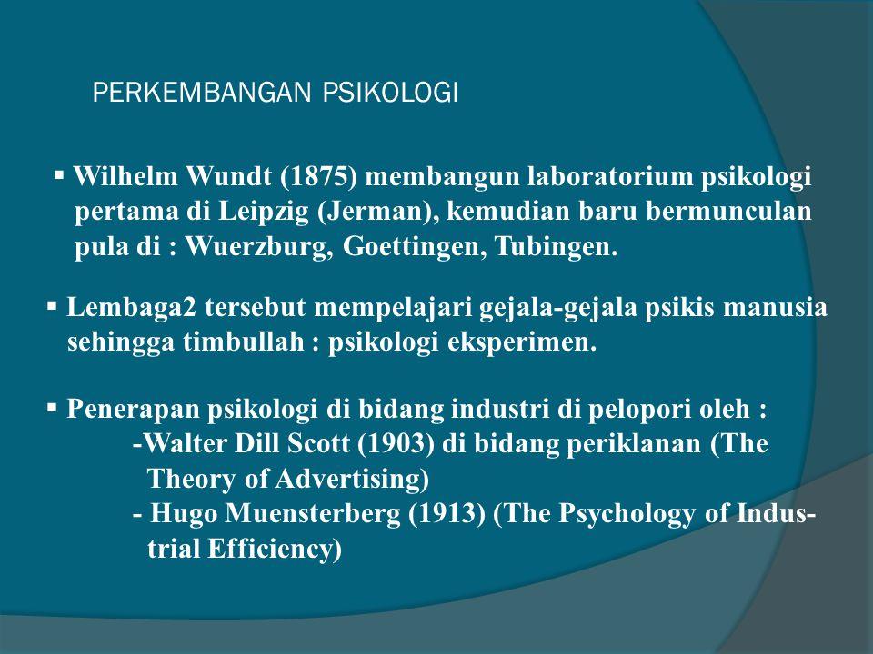 PERKEMBANGAN PSIKOLOGI  Wilhelm Wundt (1875) membangun laboratorium psikologi pertama di Leipzig (Jerman), kemudian baru bermunculan pula di : Wuerzburg, Goettingen, Tubingen.