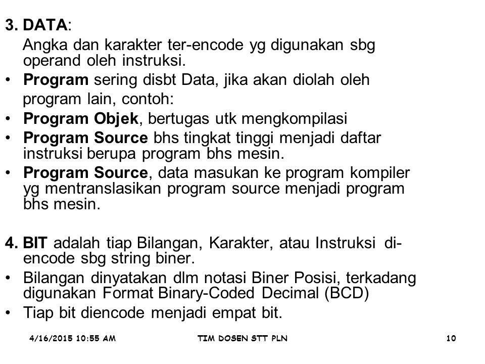 4/16/2015 10:56 AMTIM DOSEN STT PLN10 3. DATA: Angka dan karakter ter-encode yg digunakan sbg operand oleh instruksi. Program sering disbt Data, jika