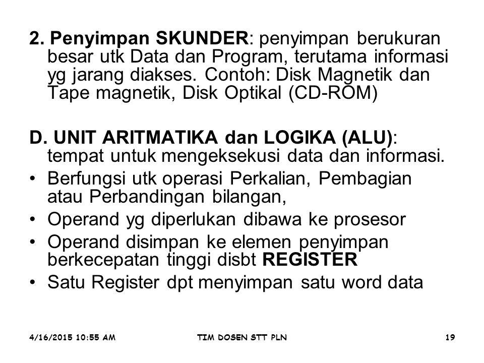 4/16/2015 10:56 AMTIM DOSEN STT PLN19. 2. Penyimpan SKUNDER: penyimpan berukuran besar utk Data dan Program, terutama informasi yg jarang diakses. Con