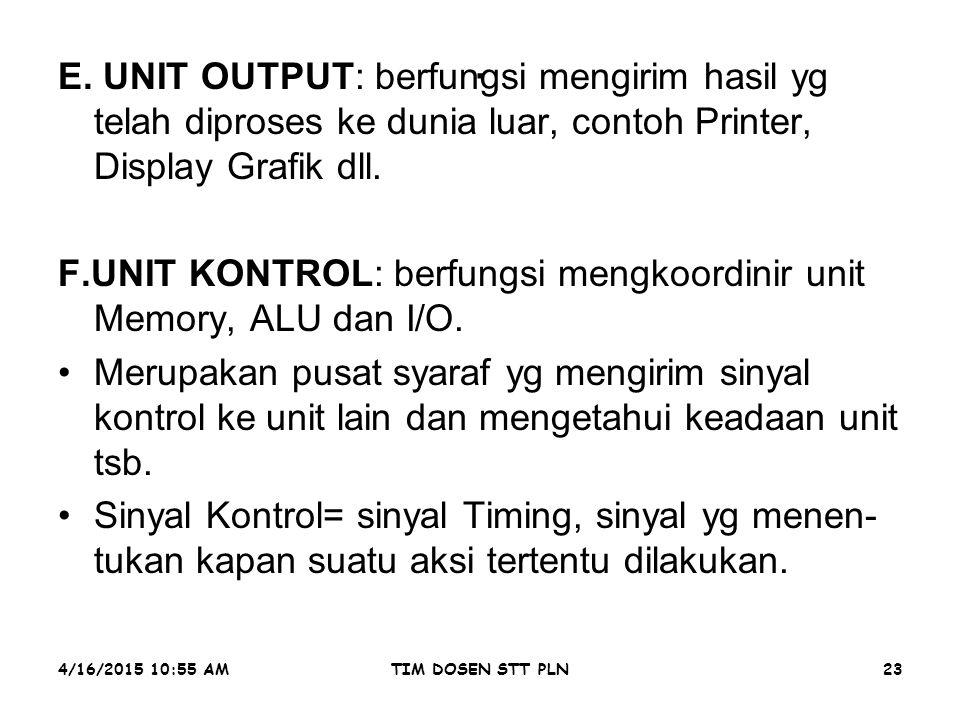 4/16/2015 10:56 AMTIM DOSEN STT PLN23. E. UNIT OUTPUT: berfungsi mengirim hasil yg telah diproses ke dunia luar, contoh Printer, Display Grafik dll. F