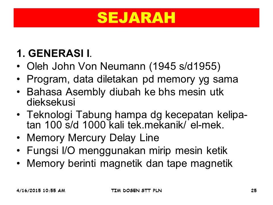 4/16/2015 10:56 AMTIM DOSEN STT PLN25 SEJARAH 1. GENERASI I.