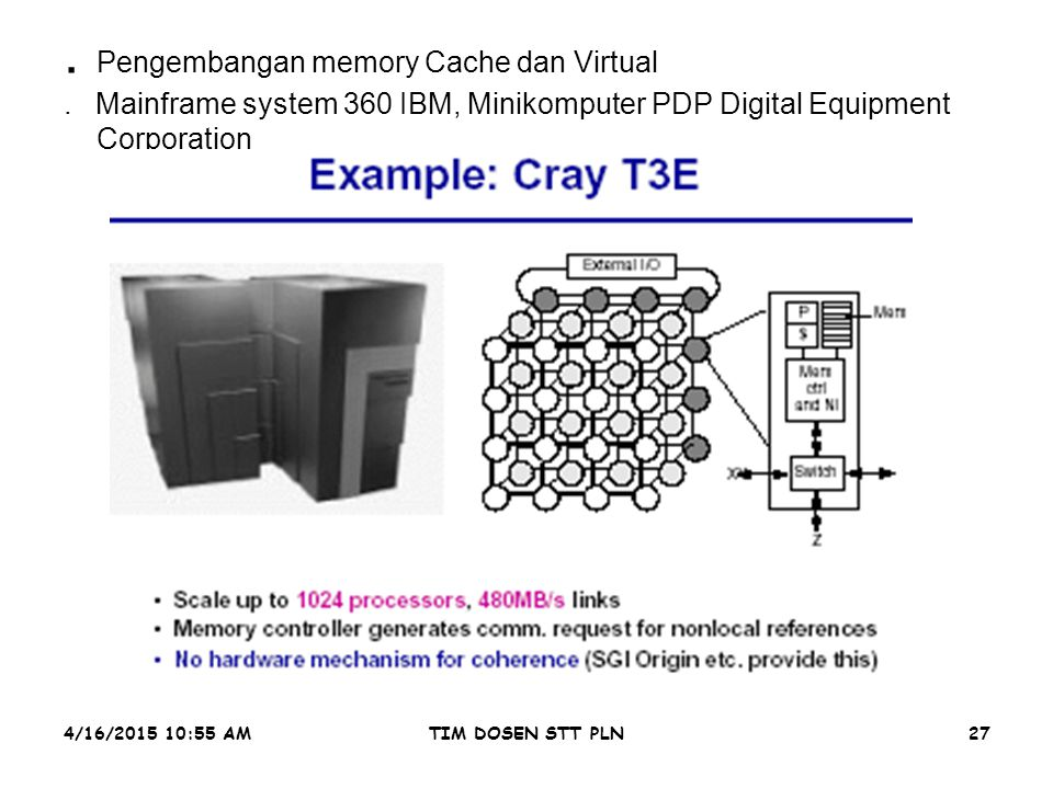 4/16/2015 10:56 AMTIM DOSEN STT PLN27. Pengembangan memory Cache dan Virtual. Mainframe system 360 IBM, Minikomputer PDP Digital Equipment Corporation