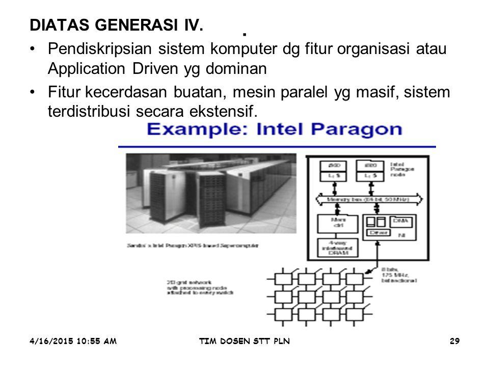 4/16/2015 10:56 AMTIM DOSEN STT PLN29. DIATAS GENERASI IV. Pendiskripsian sistem komputer dg fitur organisasi atau Application Driven yg dominan Fitur