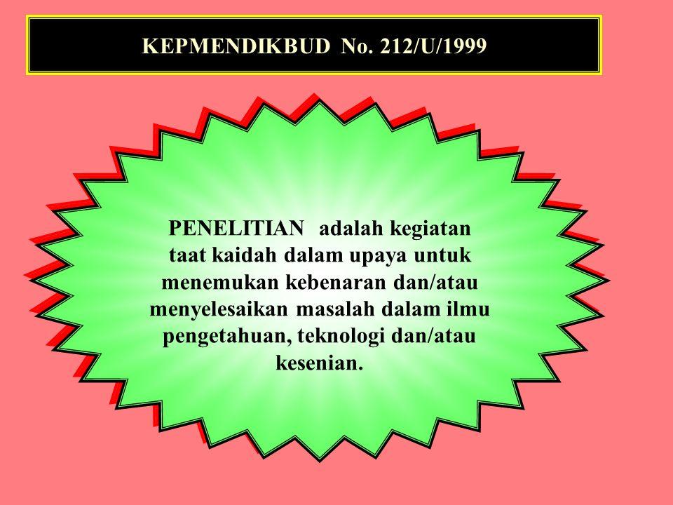 KEPMENDIKBUD No. 212/U/1999 DISERTASI adalah karya tulis akademik hasil studi dan/atau penelitian mendalam yang dilakukan secara mandiri dan berisi su