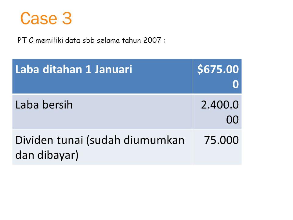 Case 3 PT C memiliki data sbb selama tahun 2007 : a.