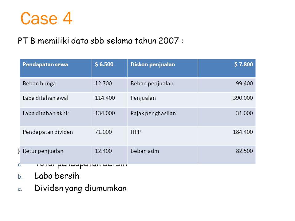 Case 4 PT B memiliki data sbb selama tahun 2007 : Hitunglah : a.