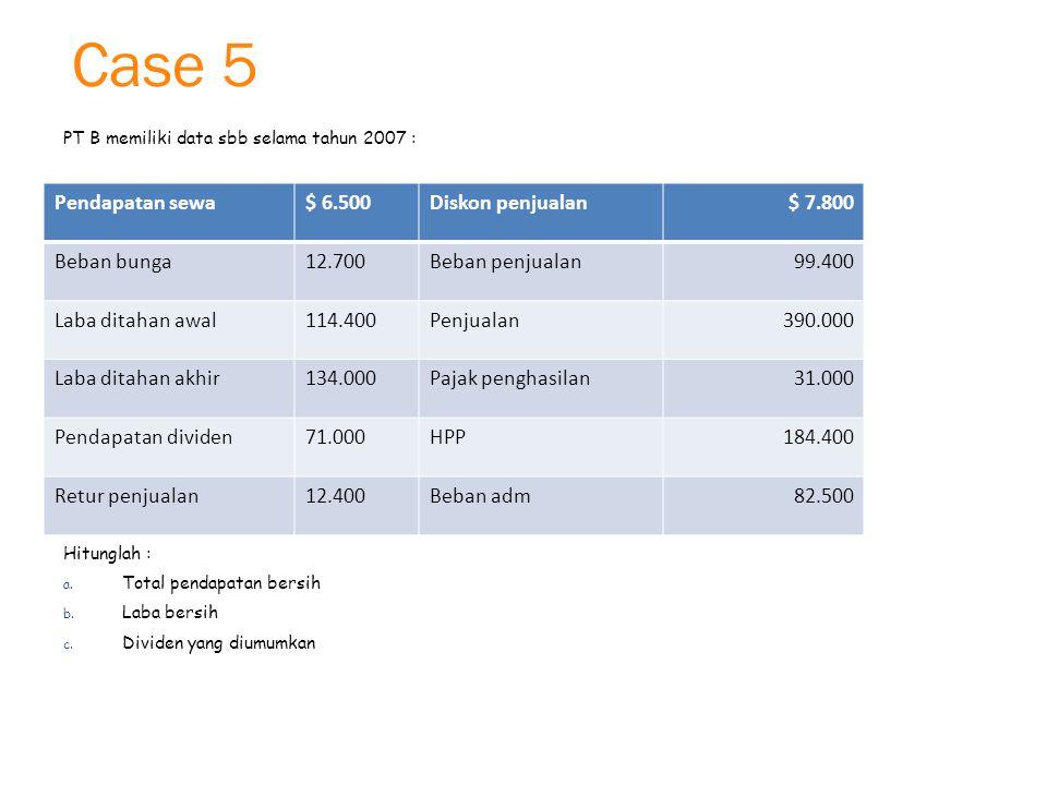 Case 5 PT B memiliki data sbb selama tahun 2007 : Hitunglah : a.