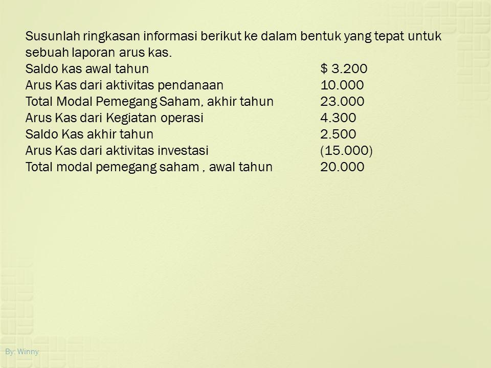 By: Winny Susunlah ringkasan informasi berikut ke dalam bentuk yang tepat untuk sebuah laporan arus kas. Saldo kas awal tahun$ 3.200 Arus Kas dari akt