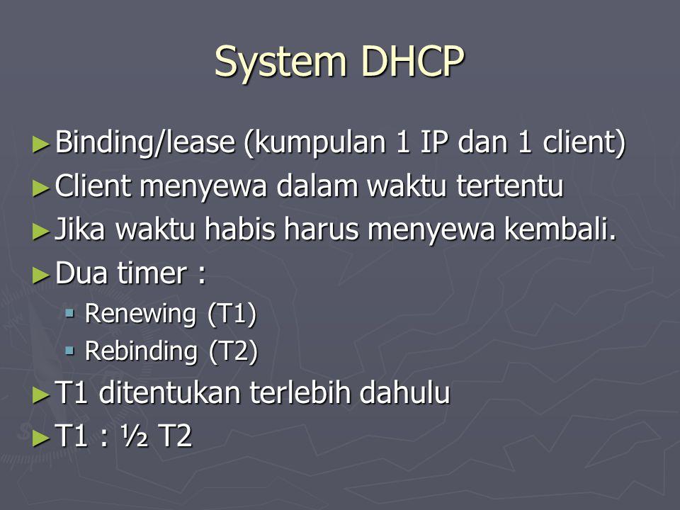 System DHCP ► Binding/lease (kumpulan 1 IP dan 1 client) ► Client menyewa dalam waktu tertentu ► Jika waktu habis harus menyewa kembali. ► Dua timer :