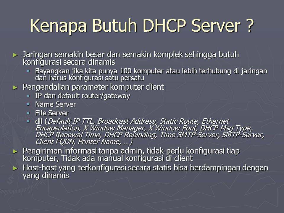 Kenapa Butuh DHCP Server ? ► Jaringan semakin besar dan semakin komplek sehingga butuh konfigurasi secara dinamis  Bayangkan jika kita punya 100 komp