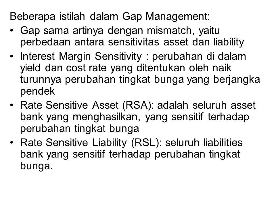 Tujuan Gap Management: mempersempit lebarnya kesenjangan antara RSA dan RSL.