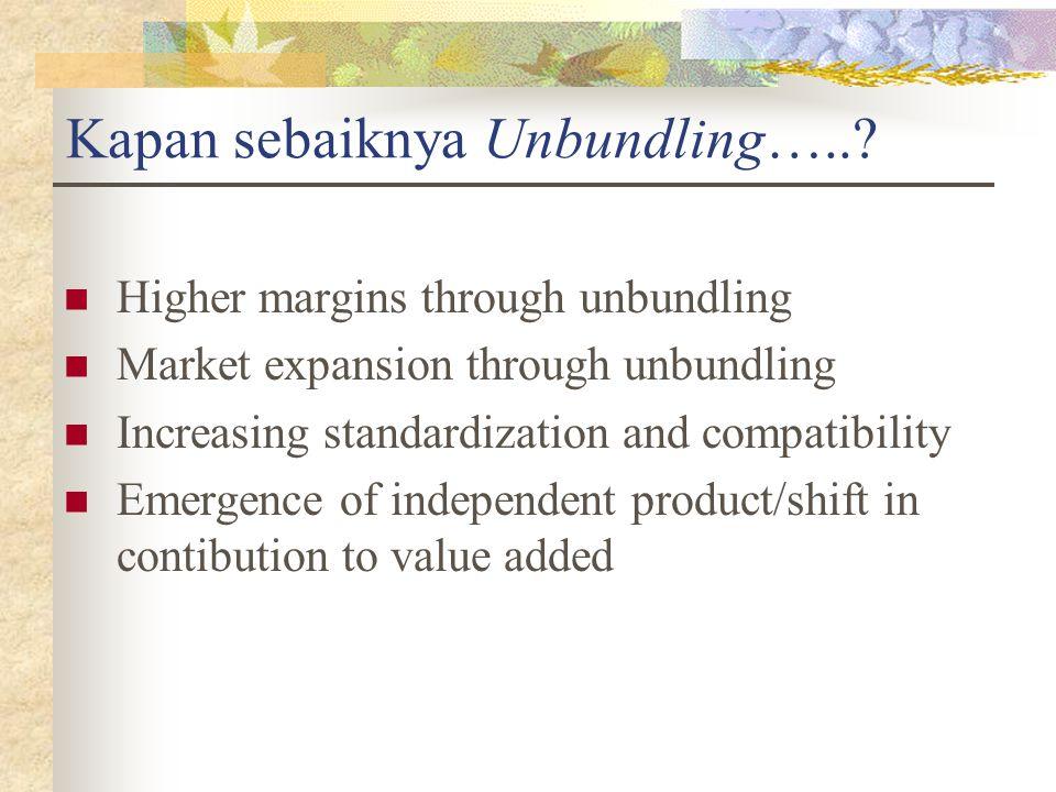 Higher margins through unbundling Market expansion through unbundling Increasing standardization and compatibility Emergence of independent product/sh