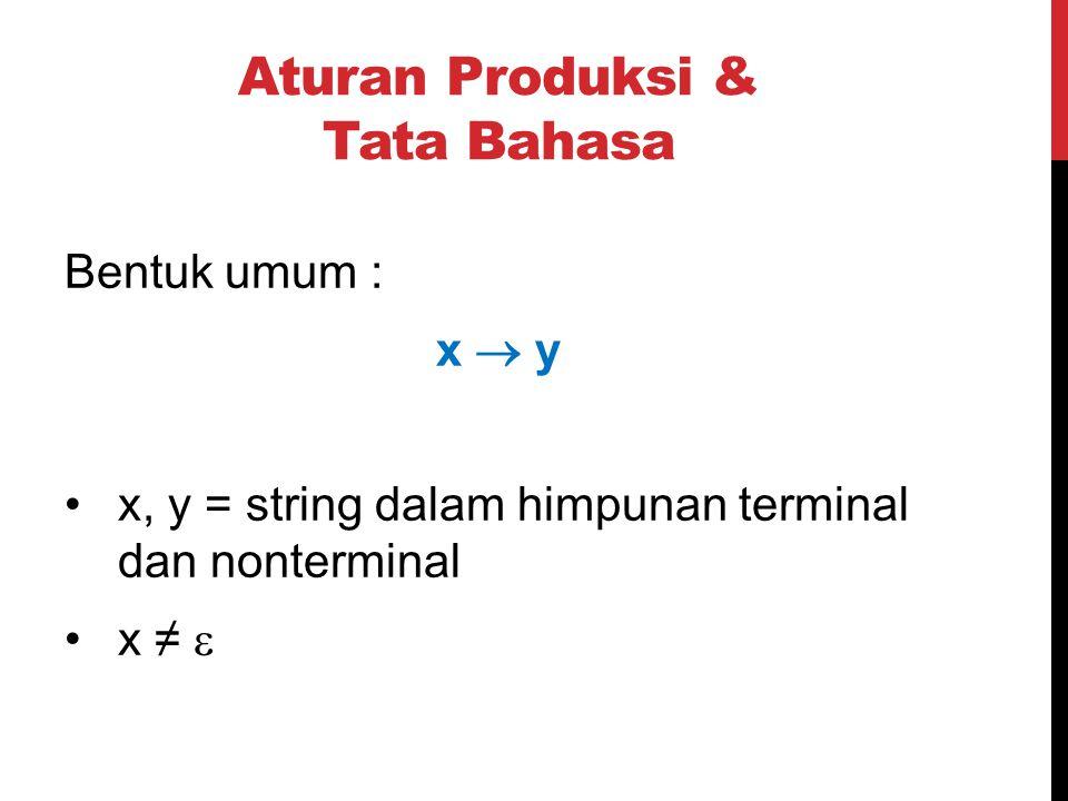 Aturan Produksi & Tata Bahasa Bentuk umum : x  y x, y = string dalam himpunan terminal dan nonterminal x ≠ 
