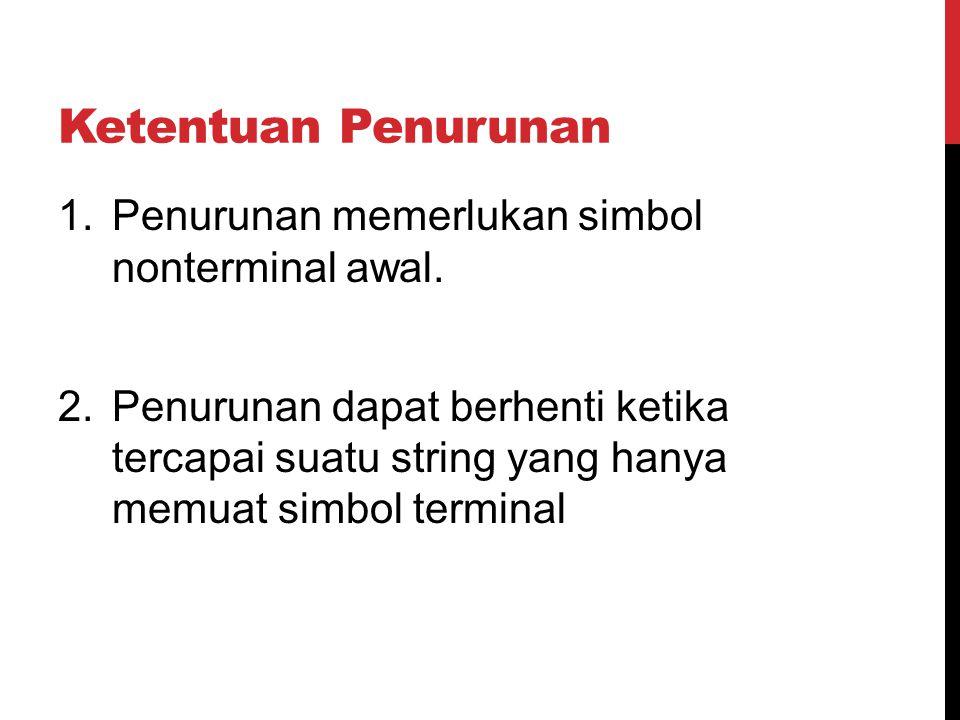 Ketentuan Penurunan 1.Penurunan memerlukan simbol nonterminal awal. 2.Penurunan dapat berhenti ketika tercapai suatu string yang hanya memuat simbol t