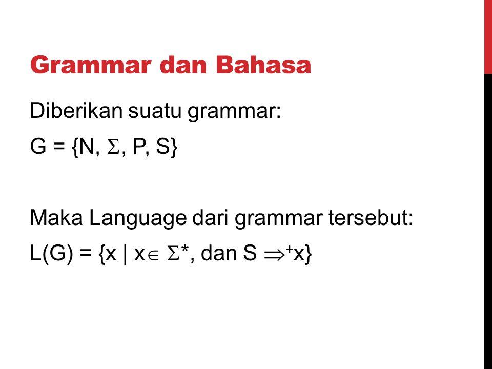 Grammar dan Bahasa Diberikan suatu grammar: G = {N, , P, S} Maka Language dari grammar tersebut: L(G) = {x | x   *, dan S  + x}