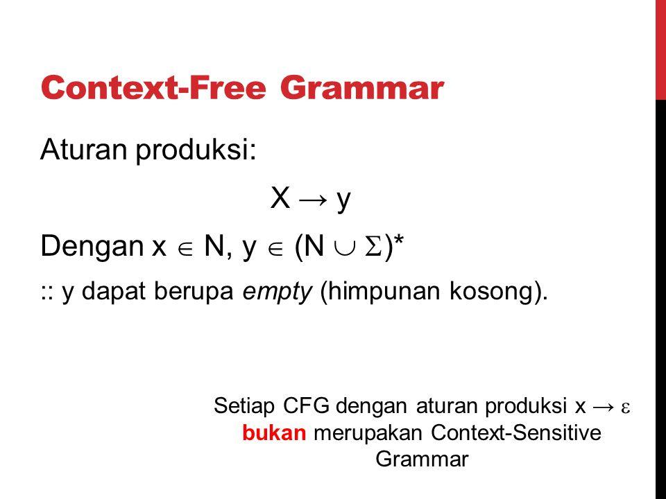 Context-Free Grammar Aturan produksi: X → y Dengan x  N, y  (N   )* :: y dapat berupa empty (himpunan kosong). Setiap CFG dengan aturan produksi x