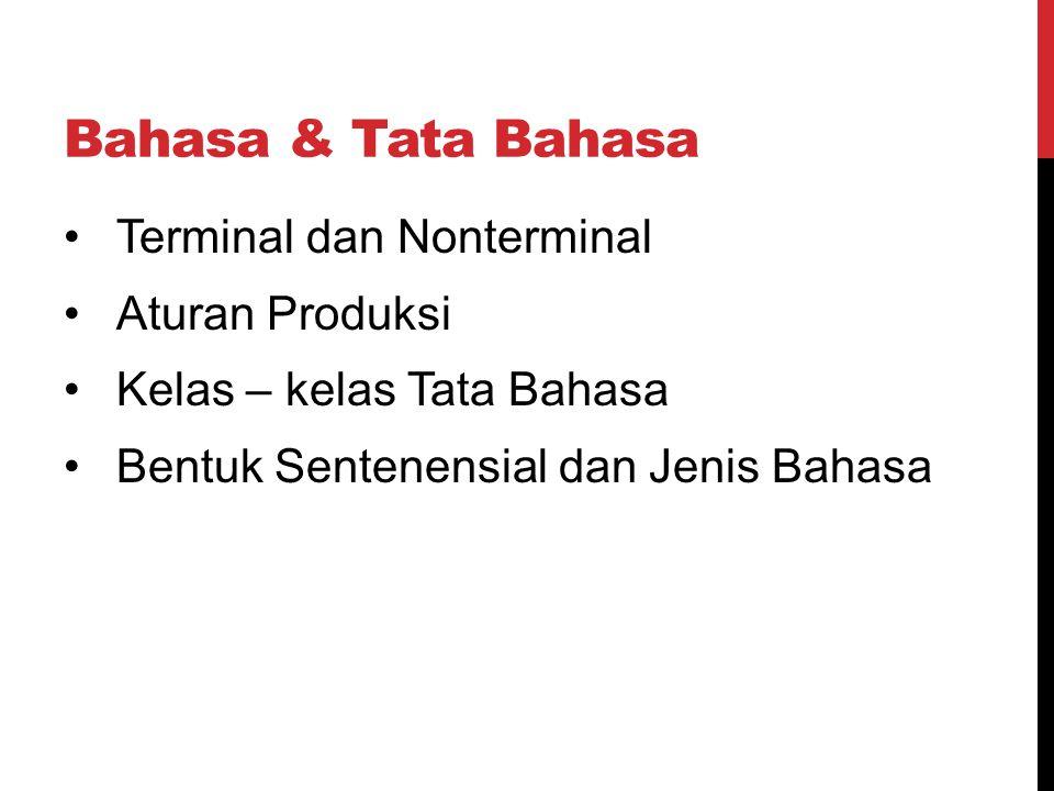 Bahasa & Tata Bahasa Terminal dan Nonterminal Aturan Produksi Kelas – kelas Tata Bahasa Bentuk Sentenensial dan Jenis Bahasa