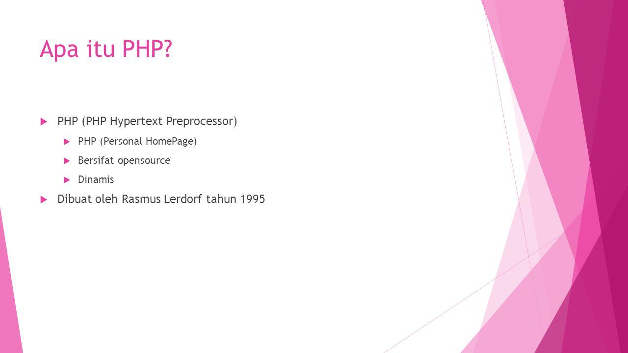 Apa itu PHP?  PHP (PHP Hypertext Preprocessor)  PHP (Personal HomePage)  Bersifat opensource  Dinamis  Dibuat oleh Rasmus Lerdorf tahun 1995