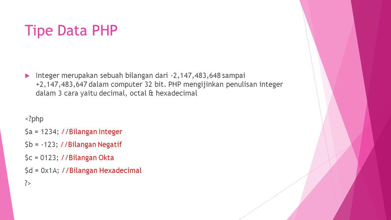 Tipe Data PHP  Integer merupakan sebuah bilangan dari -2,147,483,648 sampai +2,147,483,647 dalam computer 32 bit. PHP mengijinkan penulisan integer d
