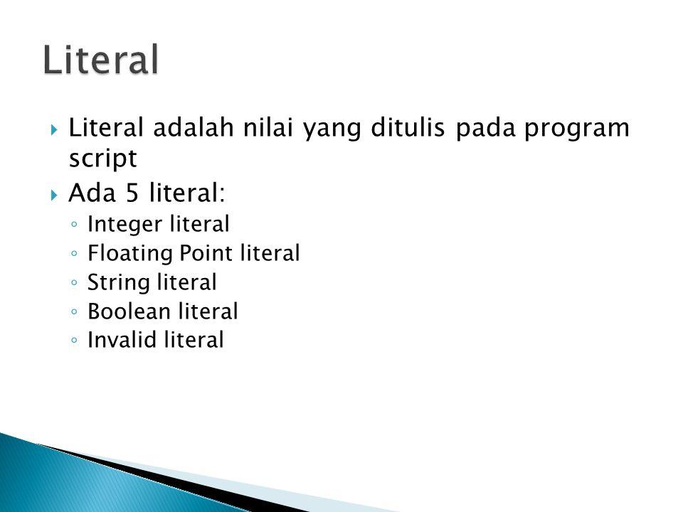  Literal adalah nilai yang ditulis pada program script  Ada 5 literal: ◦ Integer literal ◦ Floating Point literal ◦ String literal ◦ Boolean literal