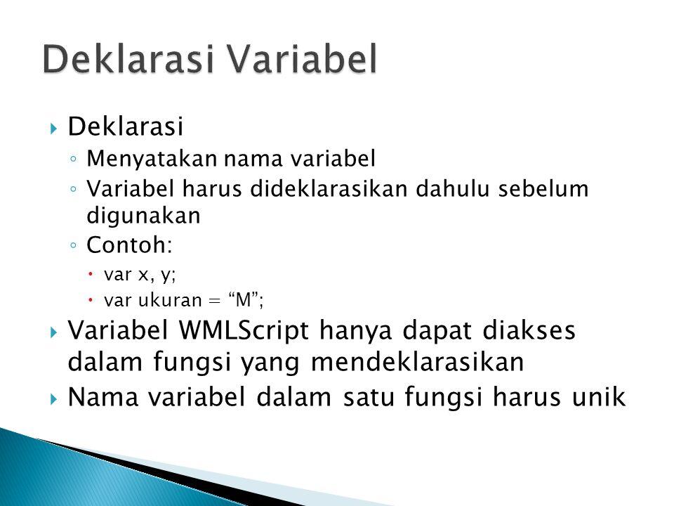 " Deklarasi ◦ Menyatakan nama variabel ◦ Variabel harus dideklarasikan dahulu sebelum digunakan ◦ Contoh:  var x, y;  var ukuran = ""M"";  Variabel W"