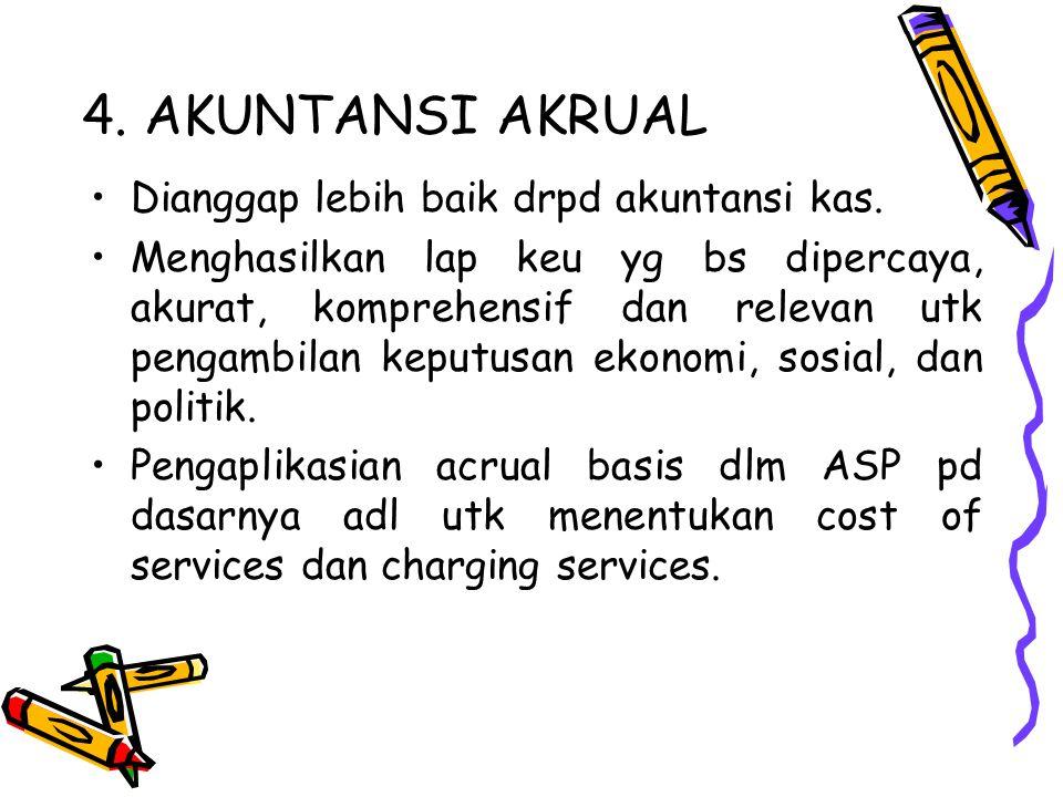 4. AKUNTANSI AKRUAL Dianggap lebih baik drpd akuntansi kas. Menghasilkan lap keu yg bs dipercaya, akurat, komprehensif dan relevan utk pengambilan kep