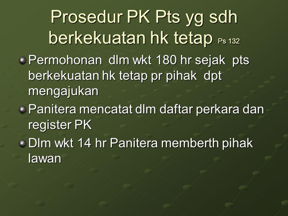 Prosedur PK Pts yg sdh berkekuatan hk tetap Ps 132 Permohonan dlm wkt 180 hr sejak pts berkekuatan hk tetap pr pihak dpt mengajukan Panitera mencatat