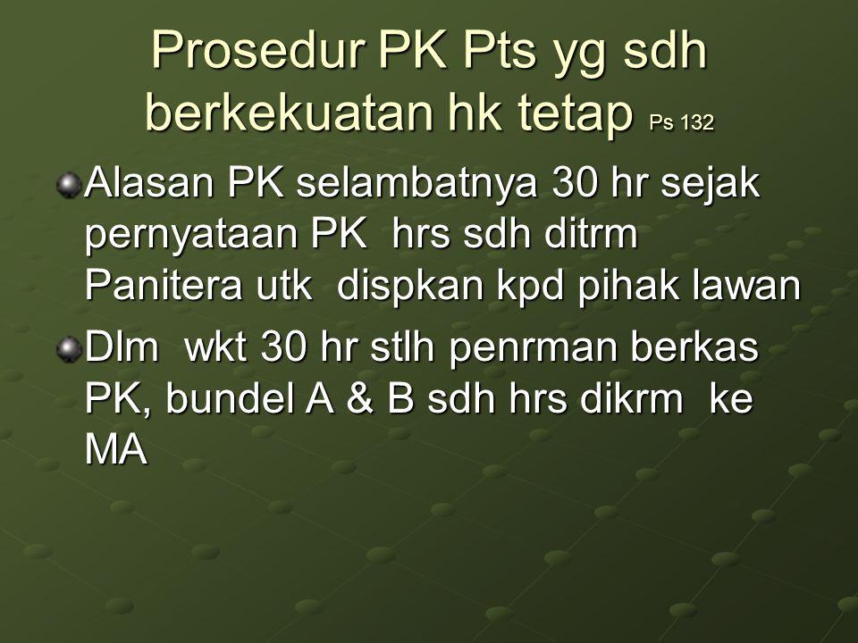 Prosedur PK Pts yg sdh berkekuatan hk tetap Ps 132 Alasan PK selambatnya 30 hr sejak pernyataan PK hrs sdh ditrm Panitera utk dispkan kpd pihak lawan