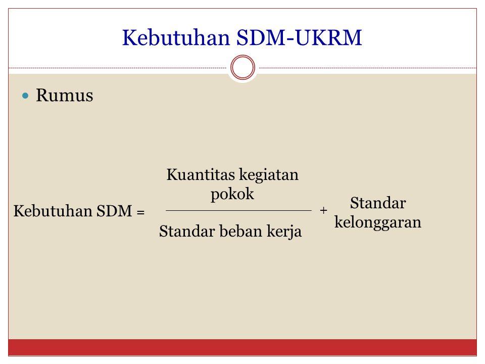 Kebutuhan SDM-UKRM Rumus Kebutuhan SDM = Kuantitas kegiatan pokok Standar beban kerja Standar kelonggaran +