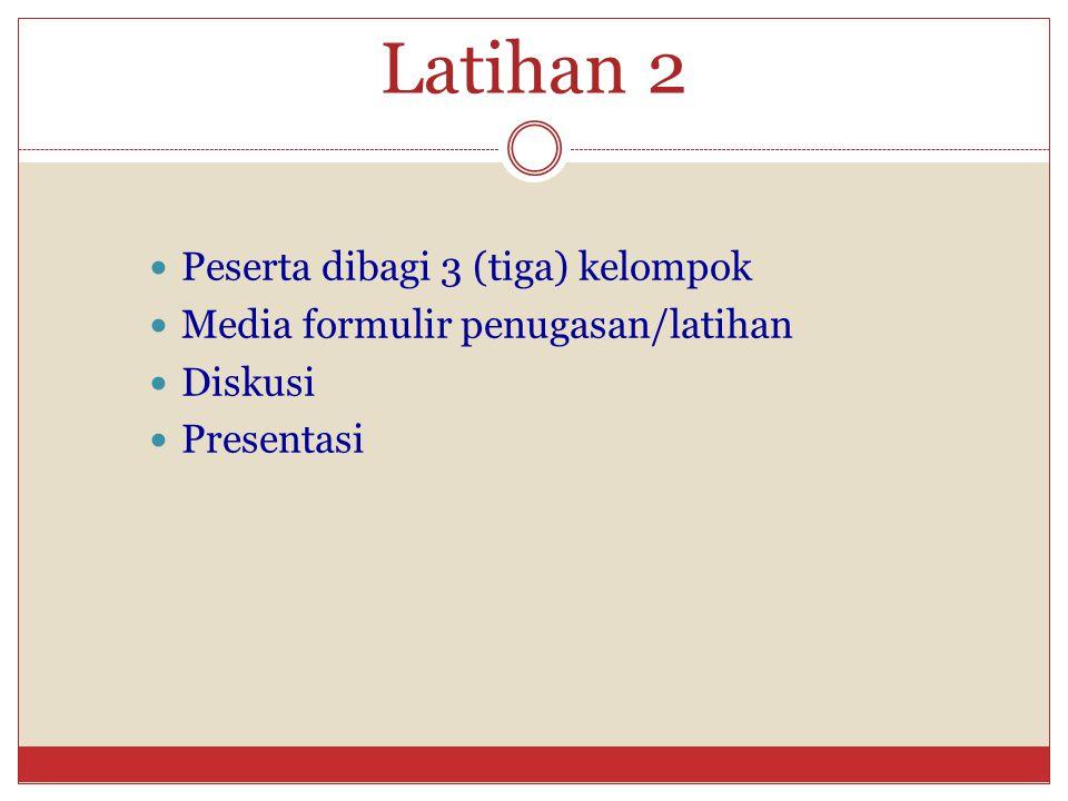 Latihan 2 Peserta dibagi 3 (tiga) kelompok Media formulir penugasan/latihan Diskusi Presentasi