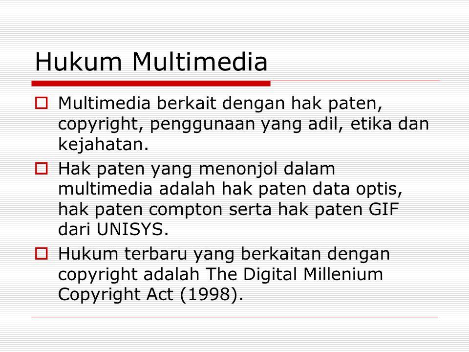 Hukum Multimedia  Multimedia berkait dengan hak paten, copyright, penggunaan yang adil, etika dan kejahatan.  Hak paten yang menonjol dalam multimed