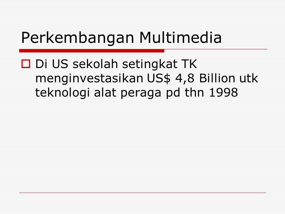 Perkembangan Multimedia  Di US sekolah setingkat TK menginvestasikan US$ 4,8 Billion utk teknologi alat peraga pd thn 1998