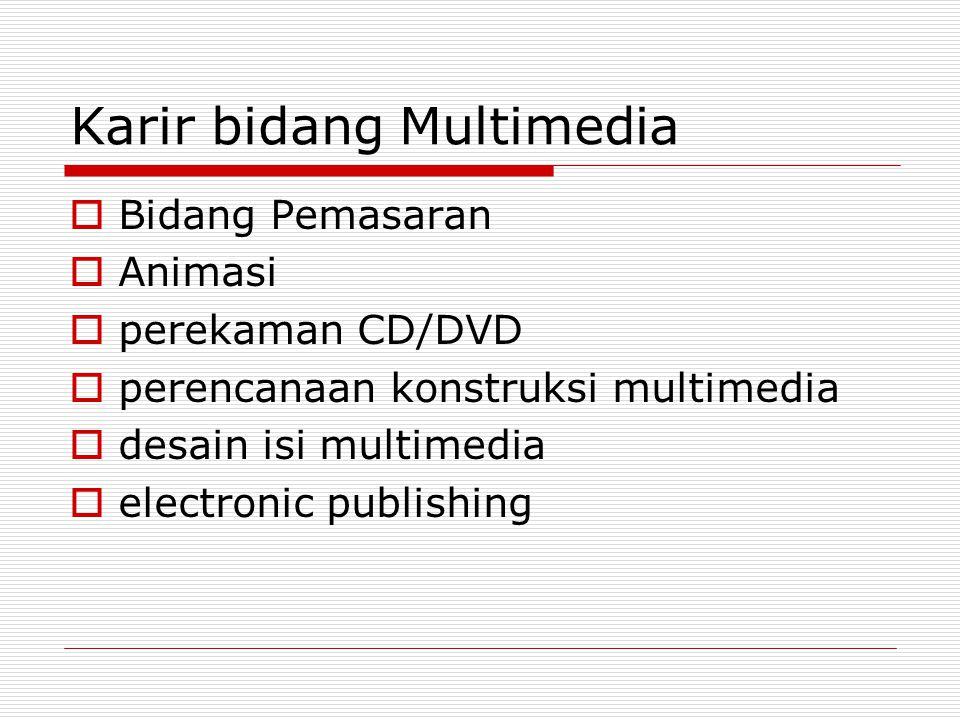 Karir bidang Multimedia  Bidang Pemasaran  Animasi  perekaman CD/DVD  perencanaan konstruksi multimedia  desain isi multimedia  electronic publi