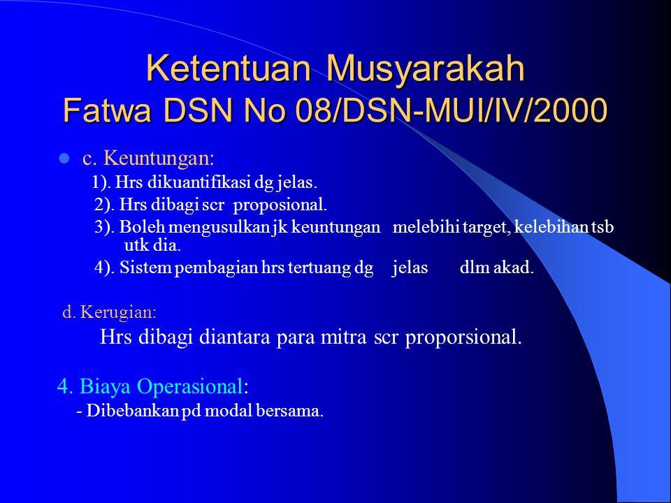 Ketentuan Musyarakah Fatwa DSN No 08/DSN-MUI/IV/2000 c. Keuntungan: 1). Hrs dikuantifikasi dg jelas. 2). Hrs dibagi scr proposional. 3). Boleh mengusu