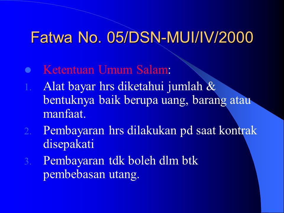 Fatwa No. 05/DSN-MUI/IV/2000 Ketentuan Umum Salam: 1. Alat bayar hrs diketahui jumlah & bentuknya baik berupa uang, barang atau manfaat. 2. Pembayaran