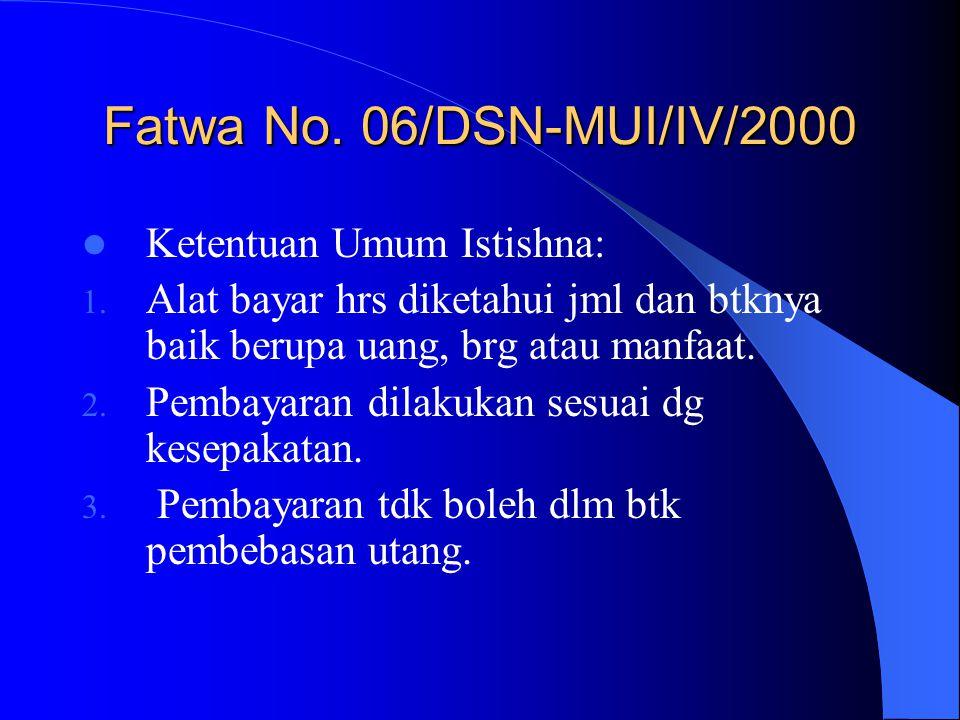 Fatwa No. 06/DSN-MUI/IV/2000 Ketentuan Umum Istishna: 1. Alat bayar hrs diketahui jml dan btknya baik berupa uang, brg atau manfaat. 2. Pembayaran dil
