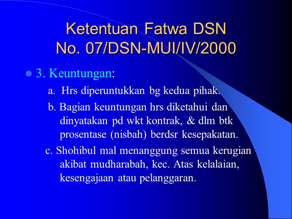 Ketentuan Fatwa DSN No. 07/DSN-MUI/IV/2000 3. Keuntungan: a. Hrs diperuntukkan bg kedua pihak. b. Bagian keuntungan hrs diketahui dan dinyatakan pd wk
