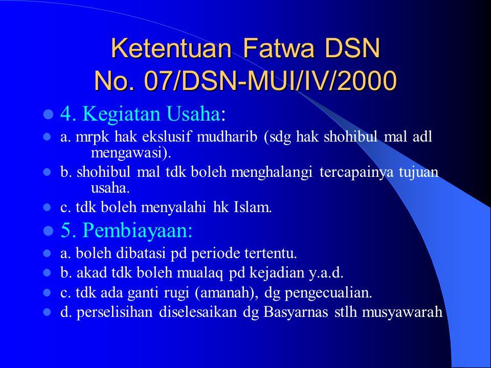 Ketentuan Fatwa DSN No. 07/DSN-MUI/IV/2000 4. Kegiatan Usaha: a. mrpk hak ekslusif mudharib (sdg hak shohibul mal adl mengawasi). b. shohibul mal tdk