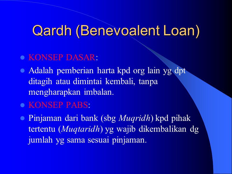 Qardh (Benevoalent Loan) KONSEP DASAR: Adalah pemberian harta kpd org lain yg dpt ditagih atau dimintai kembali, tanpa mengharapkan imbalan. KONSEP PA