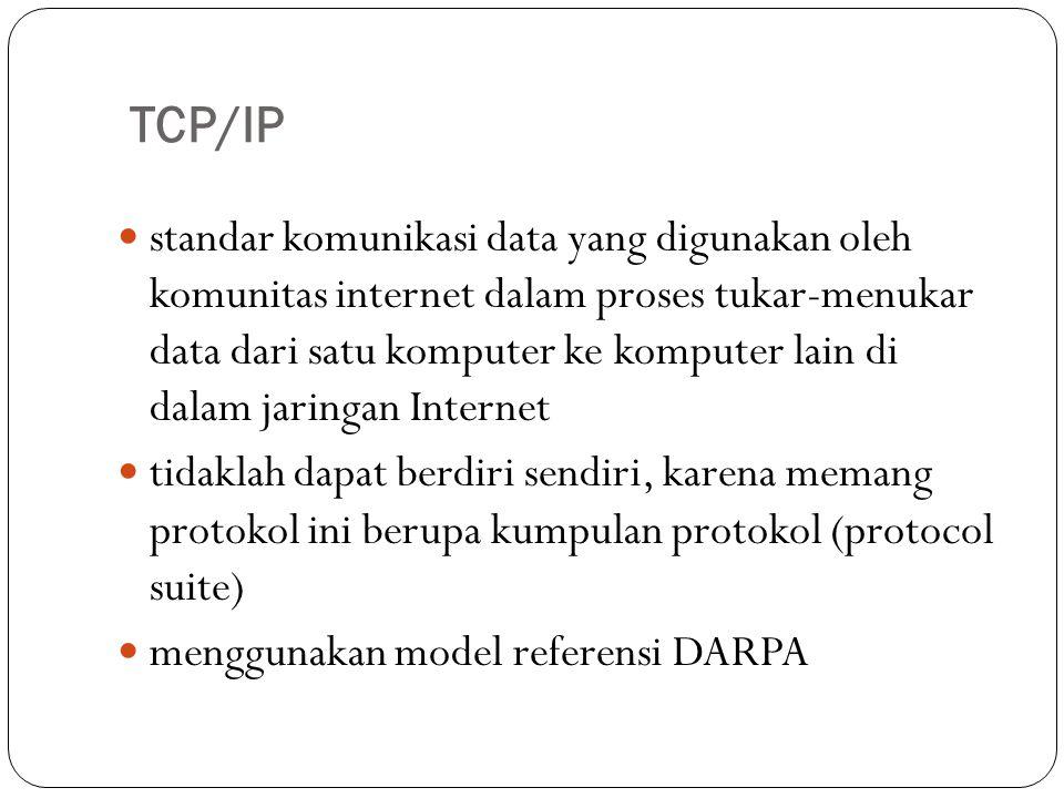 TCP/IP standar komunikasi data yang digunakan oleh komunitas internet dalam proses tukar-menukar data dari satu komputer ke komputer lain di dalam jaringan Internet tidaklah dapat berdiri sendiri, karena memang protokol ini berupa kumpulan protokol (protocol suite) menggunakan model referensi DARPA