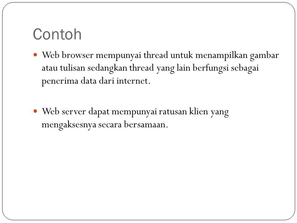Contoh Web browser mempunyai thread untuk menampilkan gambar atau tulisan sedangkan thread yang lain berfungsi sebagai penerima data dari internet.