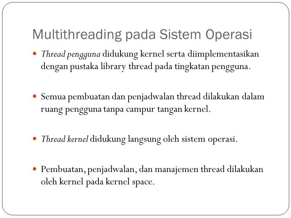 Multithreading pada Sistem Operasi Thread pengguna didukung kernel serta diimplementasikan dengan pustaka library thread pada tingkatan pengguna.