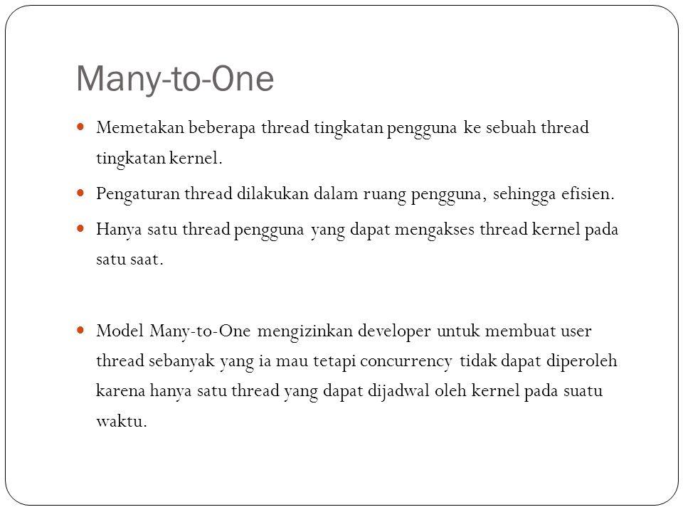 Many-to-One Memetakan beberapa thread tingkatan pengguna ke sebuah thread tingkatan kernel.