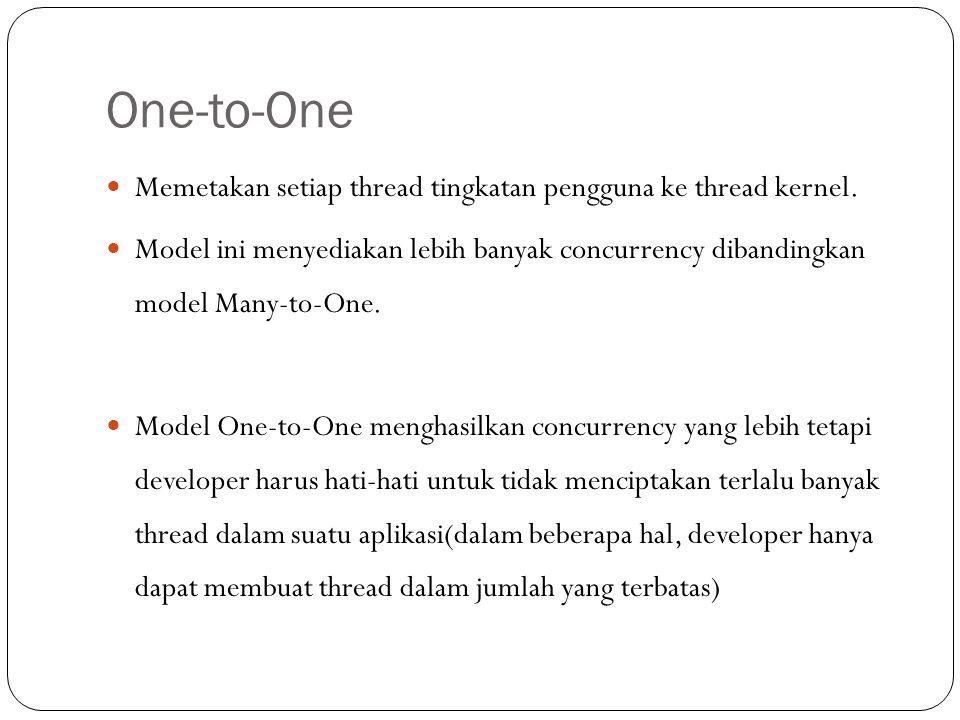 One-to-One Memetakan setiap thread tingkatan pengguna ke thread kernel.