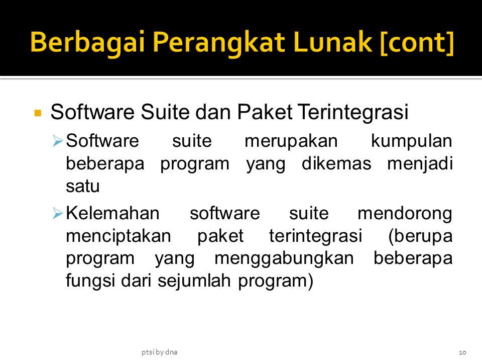  Software Suite dan Paket Terintegrasi  Software suite merupakan kumpulan beberapa program yang dikemas menjadi satu  Kelemahan software suite mend