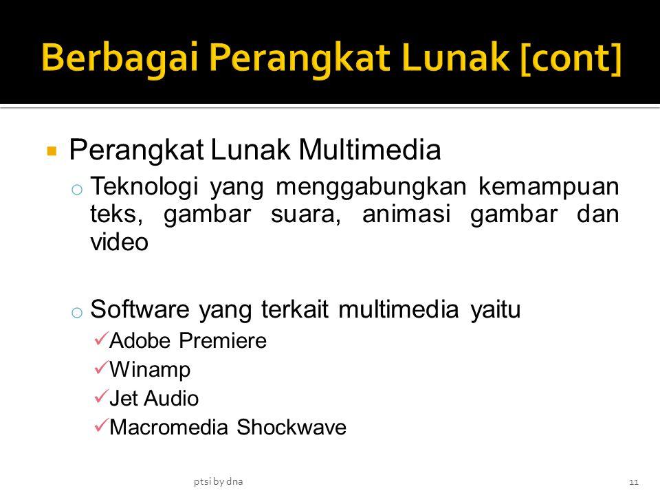  Perangkat Lunak Multimedia o Teknologi yang menggabungkan kemampuan teks, gambar suara, animasi gambar dan video o Software yang terkait multimedia