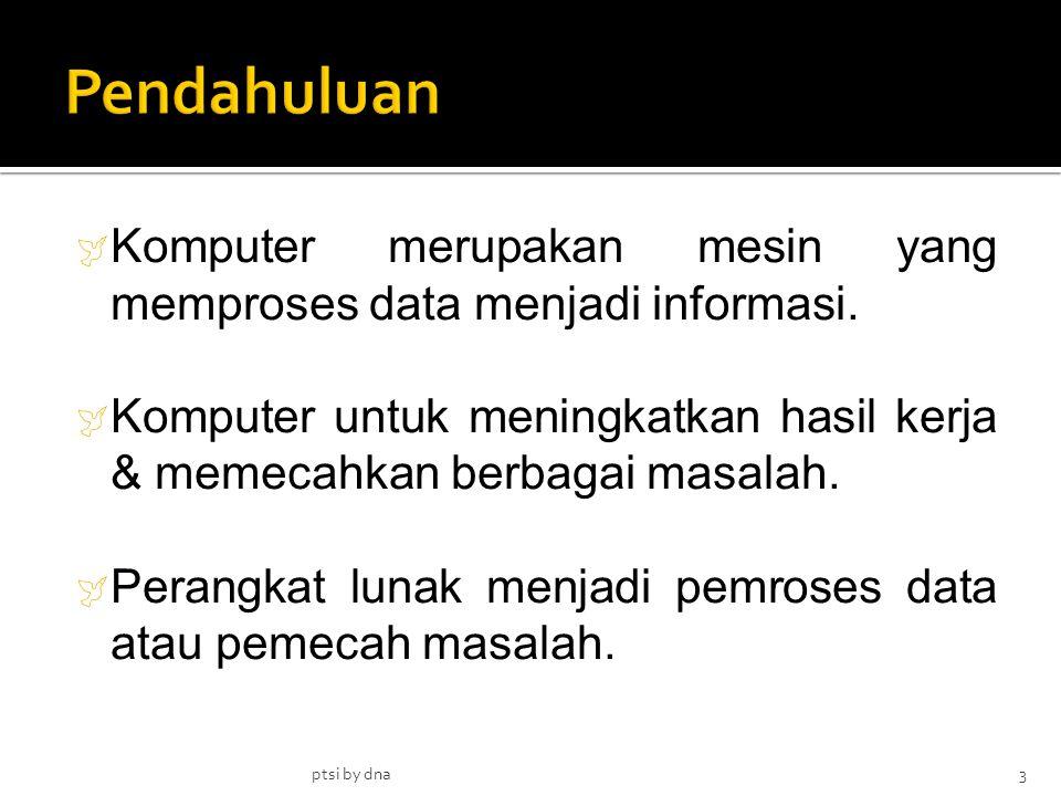  Komputer merupakan mesin yang memproses data menjadi informasi.  Komputer untuk meningkatkan hasil kerja & memecahkan berbagai masalah.  Perangkat
