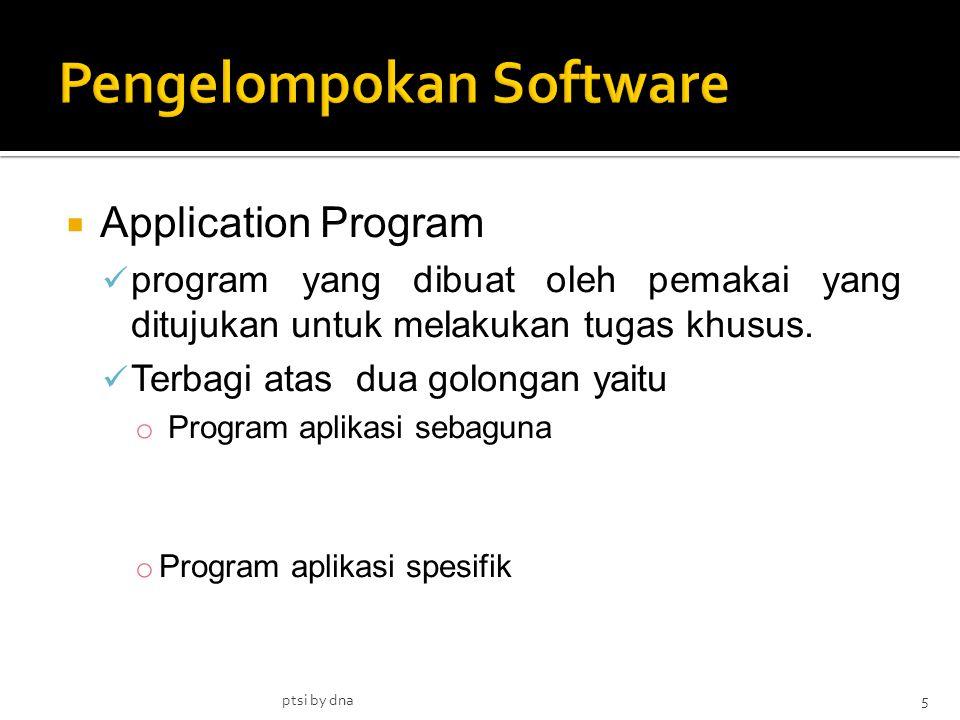  Application Program program yang dibuat oleh pemakai yang ditujukan untuk melakukan tugas khusus. Terbagi atas dua golongan yaitu o Program aplikasi