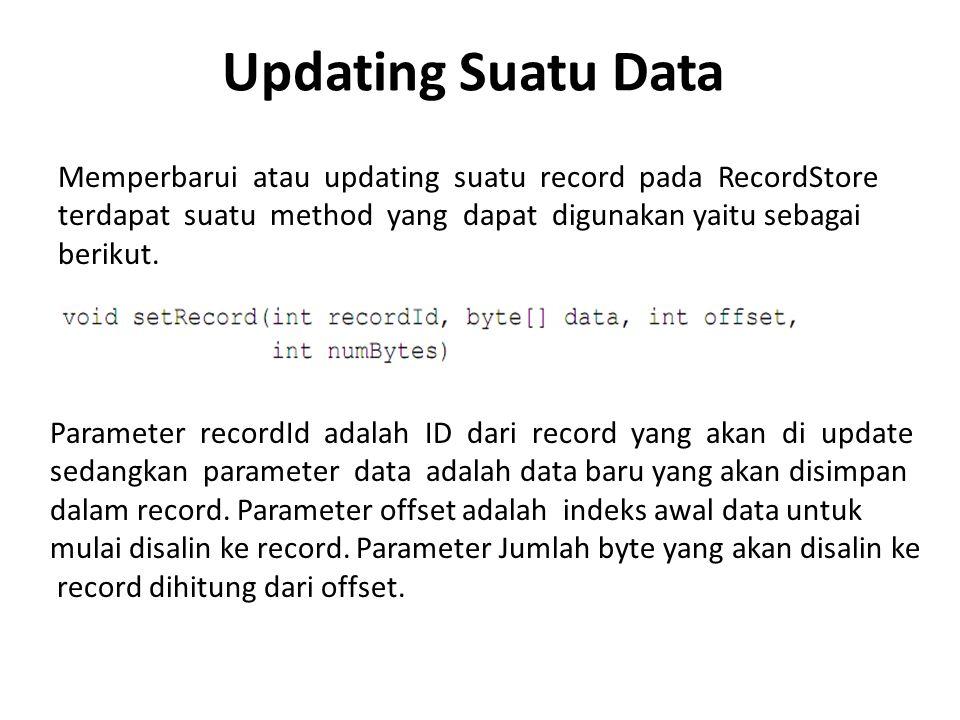 Updating Suatu Data Memperbarui atau updating suatu record pada RecordStore terdapat suatu method yang dapat digunakan yaitu sebagai berikut. Paramete