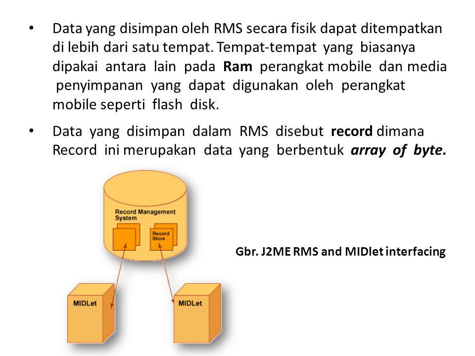 Penyimpanan informasi/data pada perangkat mobile di J2ME dapat menggunakan dua cara yaitu: a.Menyimpan data pada suatu file yang diletakkan pada direktori res.